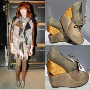 🆕 All Saints Bura Shoes Wedge Distressed Leather